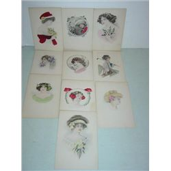 LOT 10 VINTAGE POSTCARDS WOMEN BIRTHDAY WATERCOLO