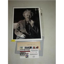 ALBERT EINSTEIN CUT SIGNATURE WITH PHOTO PRINT