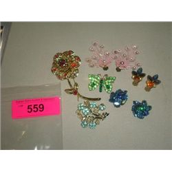LOT 6 VINTAGE FASHION JEWELRY EARRINGS SARAH COV