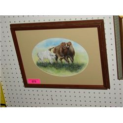 FRAMED ORIGINAL BUFFALO & CALF WATERCOLOR HOLBO