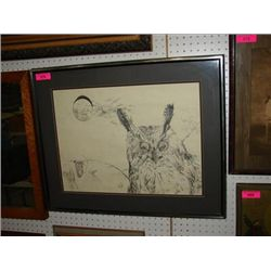 ROD MYERS ORIGINAL HORNED OWL INK PEN DRAWING
