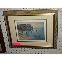 HARBOR SCENE WATERCOLOR PRINT MONET
