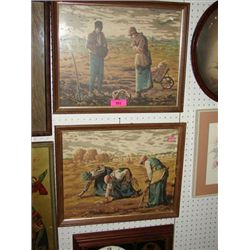 PAIR VINTAGE PAINT BY NUMBERS FARM FIELD SCENE
