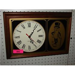 VINTAGE MR PEANUT ADVERTISING WALL CLOCK CHAPIN