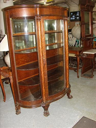 Antique Curved Glass Claw Foot China Cabinet