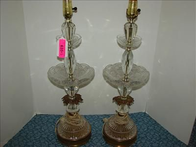Pair vintage glass brass tiered table lamps image 1 pair vintage glass brass tiered table lamps mozeypictures Choice Image