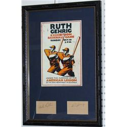 BABE RUTH LOU GEHRIG PRINT SIGNATURES