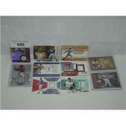 LOT 10 BASEBALL CARDS GAME USED MATERIALS