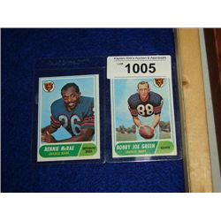LOT 2 1968 TOPPS FOOTBALL CARDS BENNIE MCRAE