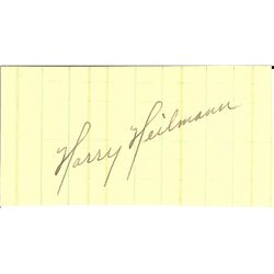 HARRY HEILMAN CUT SIGNATURE AUTOGRAPH