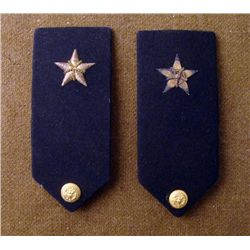 PAIR OF WWII NAVY SHOULDER BOARDS SINGLE BULLION STARS