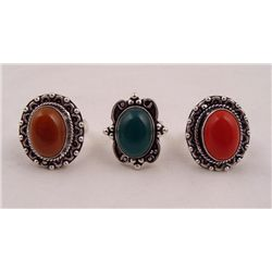 3 Sterling Rings Coral Green Onyx Red Onyx