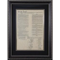 United States U.S. Constitution Antiqued Framed Print