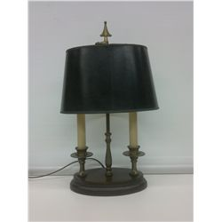 Double light table lamp with a black shade