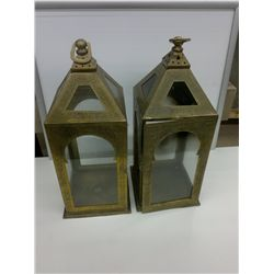 Pair of Brass Lanterns with glass inserts L 8in W 8in H 21in