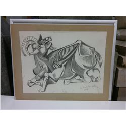 Pencil Drawing mounted to board, Mountain Goat.  to Fred from LeRoy 1956