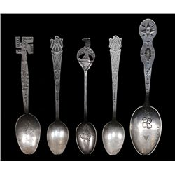 Five Navajo Silver Spoons. Stamped Design Pre 1940's 62 GMS 4 1/2  - 5 1/8  L.  Fine Condition