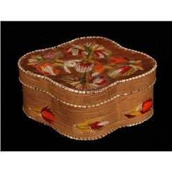 Birch Bark Basket with Floral Quill Work Design Inscribed  Yellowstone Park  5  L. 4  W. 2  H.  Fair