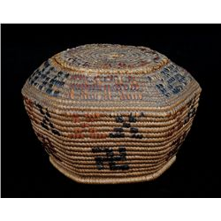 Lillooet Lidded Hexagonal Yarn Basket with Rolling Log Design 7  W. 4 1/2  H.  Fair Condition