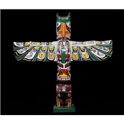 Moses Alexis Totem Carved with Thunderbird and Bear Holding Human 1949 - Port Simpson, B.C. 24 3/4