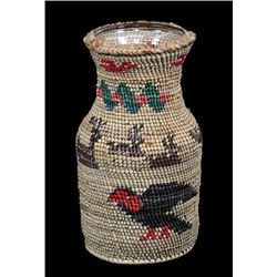 Nuu-chah-nulth Basketry Covered Bottle with Eagle, Whale, Reindeer, Lightning Snake and Bird Design