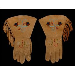 Pair of Piegan Beaded Gloves with Floral Design on Deerskin 13  L.  Good Condition