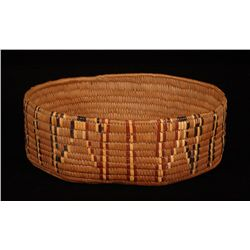 Salish Basket Oval Shaped with Imbricated Design 12 1/2  L. 9 1/2  W.  Good Condition with Minor Rim