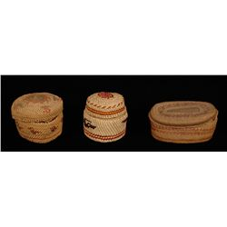 Three Nuu-chah-nulth Baskets, Dome Top Bird Design 2 1/4  D. 2 1/4  H. Fine Condition, Oval Shaped 4