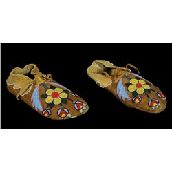 Pair of Cayuse/Nez Perce Beaded Plains Moccasins with Floral Design ca. 1900  9  L.    Very Good Con
