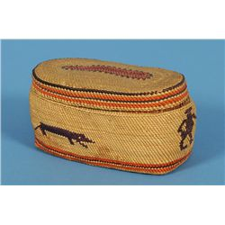 Makah Lidded Basket Imbricated with Rare Human and Dog Design, Oval Shaped 4  L. 2 1/4  W. 2 1/4  H.