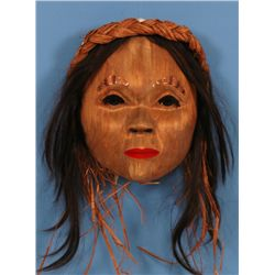 Stan Greene Alder Portrait Mask of a Woman, Copper Eyebrows 10  H. 9  W.  Fine Condition