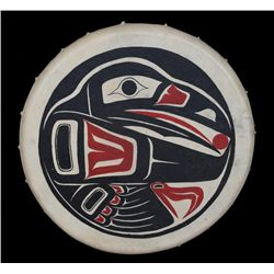 Northwest Coast Painted Drum with Raven Design14  D.  Good Condition
