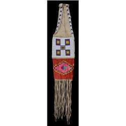 Yankton Sioux Beaded Pipe Bag with Geometric Design and Quill Work ca. 1890  38  L. 8 1/4  W.  Beadw