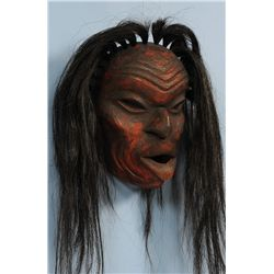 Dzunakwa Mask Carved by Ryan Crammer 11 1/2  H. 9 3/4  W.  Fine Condition