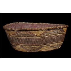 Tlingit Spruce Root Basket ca. 1900, Triangle Design 9 1/4  L. 4  H.  Good Condition