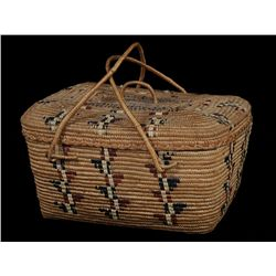 Thompson River Lidded Basket with Handles and Lightning Bolt Imbrication 14  L. 10 1/2  W. 7  H.   G