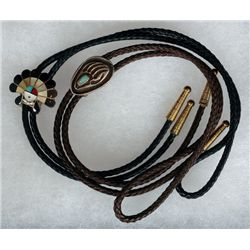Two Southwest Silver and Turquoise Bolo Ties