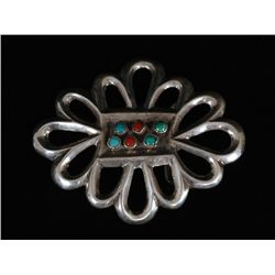 Navajo Cast Silver Buckle with Turquoise and Coral 59.5 GMS 2 7/8 x 3 1/2   Fine Condition
