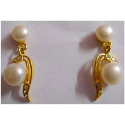 Natural 20.35 ctw Pearl Earring Oval .925 Silver