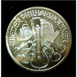 2011 AUSTRIAN PHILHARMONIC 1,50 EURO, ONE OUNCE .999 SILVER