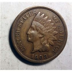 1908-S INDIAN ONE CENT VF-XF