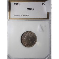 1911 V Nickel PCI MS65, MS 64 IMO, light orange patina
