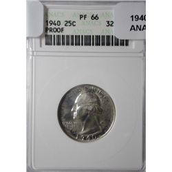 1940 WASHINGTON QUARTER ANACS PROOF 66 SUPER