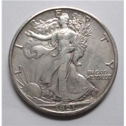 1921-S Walking Liberty Half $, AU50 details, or finer, ever so slightly bent,