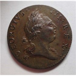 1773 Virginia 1/2 Penny  Period after George V variety Ch BU62 choc brown, sharp