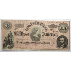 Confederate currency  1864 $100  VF
