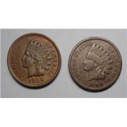 1908S G/VG  and a 1909  XF45 Indian penny