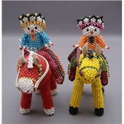 TWO ZUNI BEADED FIGURES