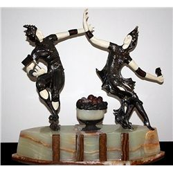 Jesters - Bronze and Ivory Sculpture by Peyre