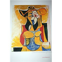 Limited Edition Picasso - Seated Woman With Yellow and Green Hat - Collection Domaine Picasso